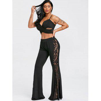 Flower Lace Panel High Waisted Flare Pants - BLACK S