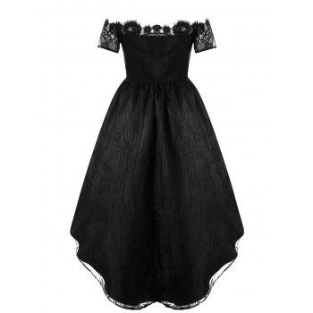 Off The Shoulder Lace High Low Party Dress - BLACK M