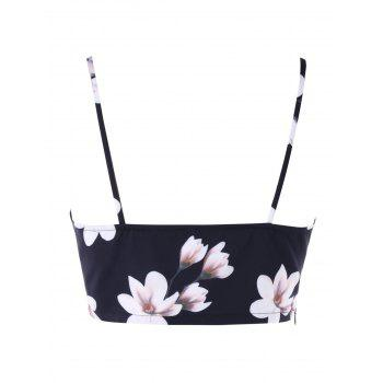 Floral Printed Cami Strap Crop Tank Top - BLACK 2XL