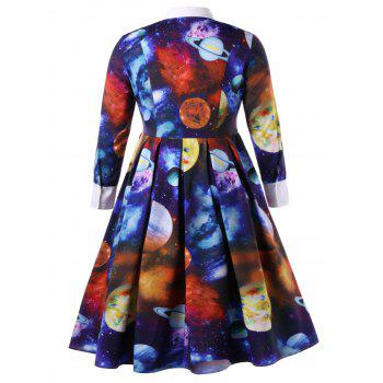 Plus Size A-line Galaxy Planet Print Dress - COLORMIX 2XL