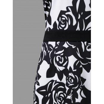 Plus Size Mesh Panel Flower Print Work Dress - WHITE/BLACK 4XL