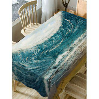 Ocean Wave Print Fabric Waterproof Table Cloth - SEA BLUE W60 INCH * L84 INCH