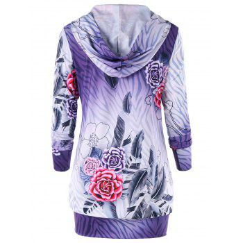 Zipped Flower Print Hoodie Dress - PURPLE XL