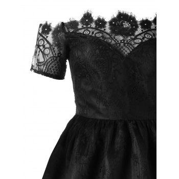 Off The Shoulder Lace High Low Party Dress - BLACK XL