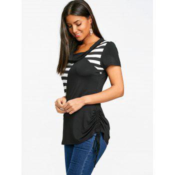 Stripe Panel Short Sleeve Cowl Neck T-shirt - WHITE/BLACK L