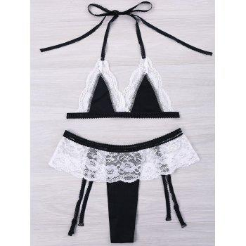 Halter Contrast Lace Trim Bralette Set - BLACK M
