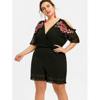 V Neck Plus Size Floral Embroidery Romper - BLACK 3XL