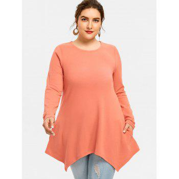 Long Sleeve Plus Size Asymmetrical T-shirt - ORANGEPINK 4XL