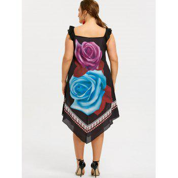 Plus Size Flower Printed Midi Dress - BLACK 4XL