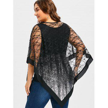 Plus Size Sheer Asymmetric Overlay Blouse - BLACK 3XL