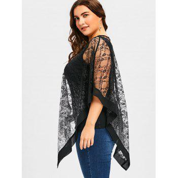 Plus Size Sheer Asymmetric Overlay Blouse - BLACK 4XL