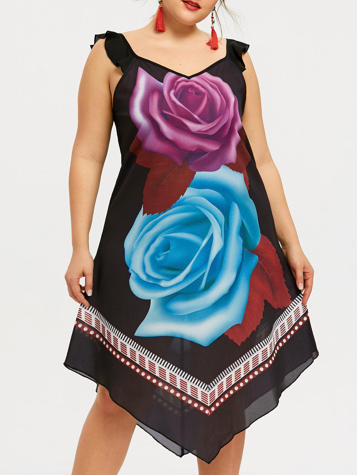 Plus Size Flower Printed Midi Dress - BLACK 3XL