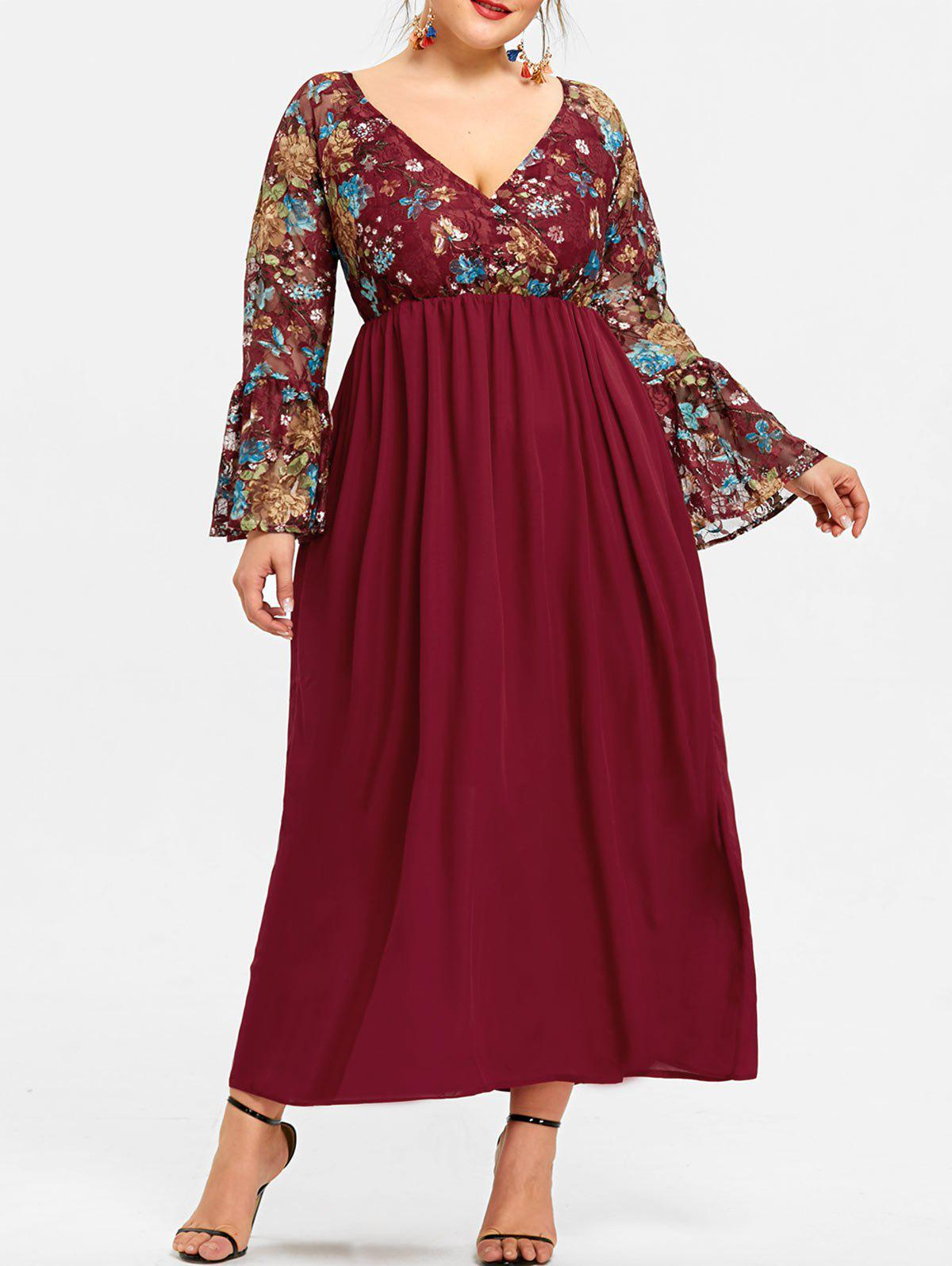 Plus Size Floral Surplice Neck Maxi Dress - DEEP RED 2XL