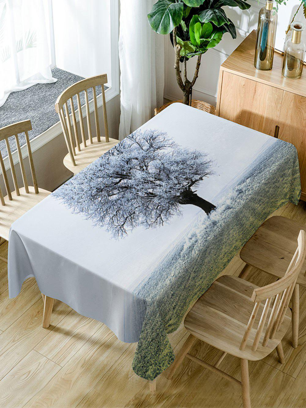 Frozen Tree Print Waterproof Dining Table Cloth - WHITE W54 INCH * L72 INCH