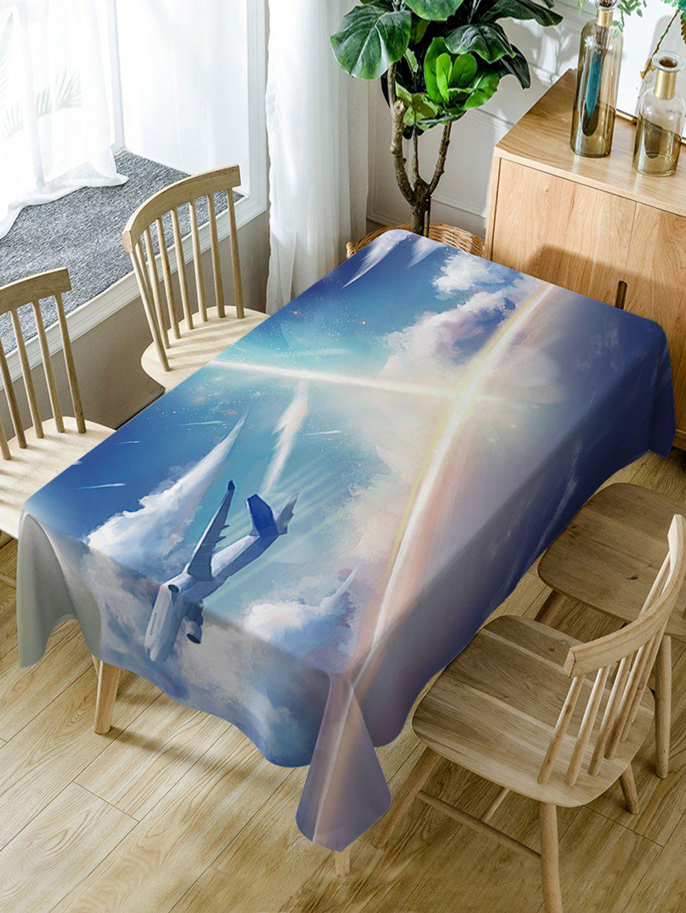 Airplane In The Sky Print Waterproof Dining Table Cloth - LAKE BLUE W60 INCH * L84 INCH