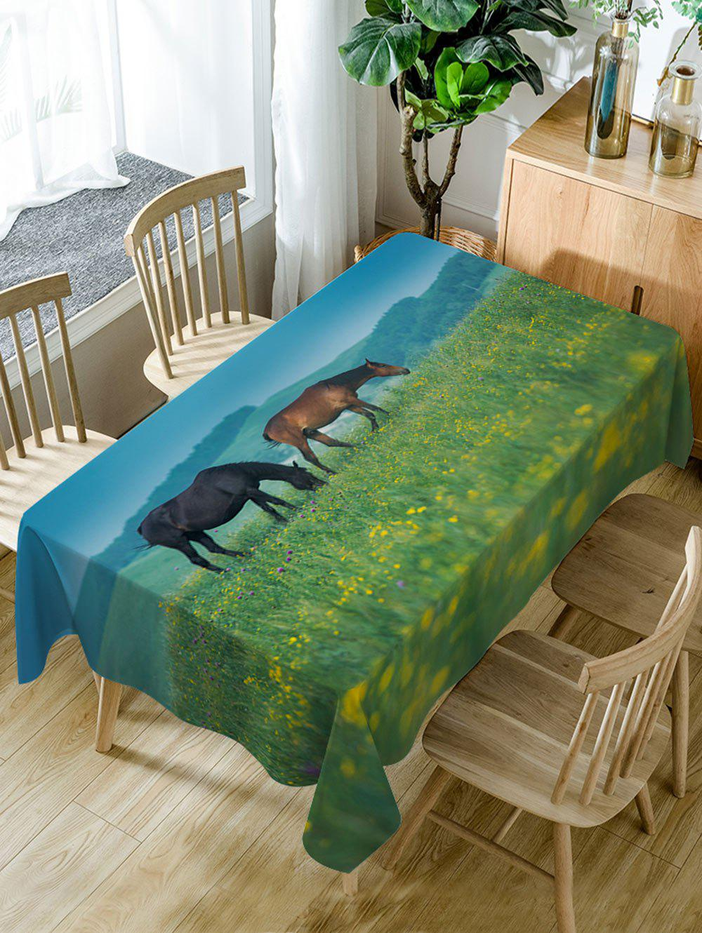 Horses On The Grasslands Print Waterproof Table Cloth - GREEN W60 INCH * L84 INCH