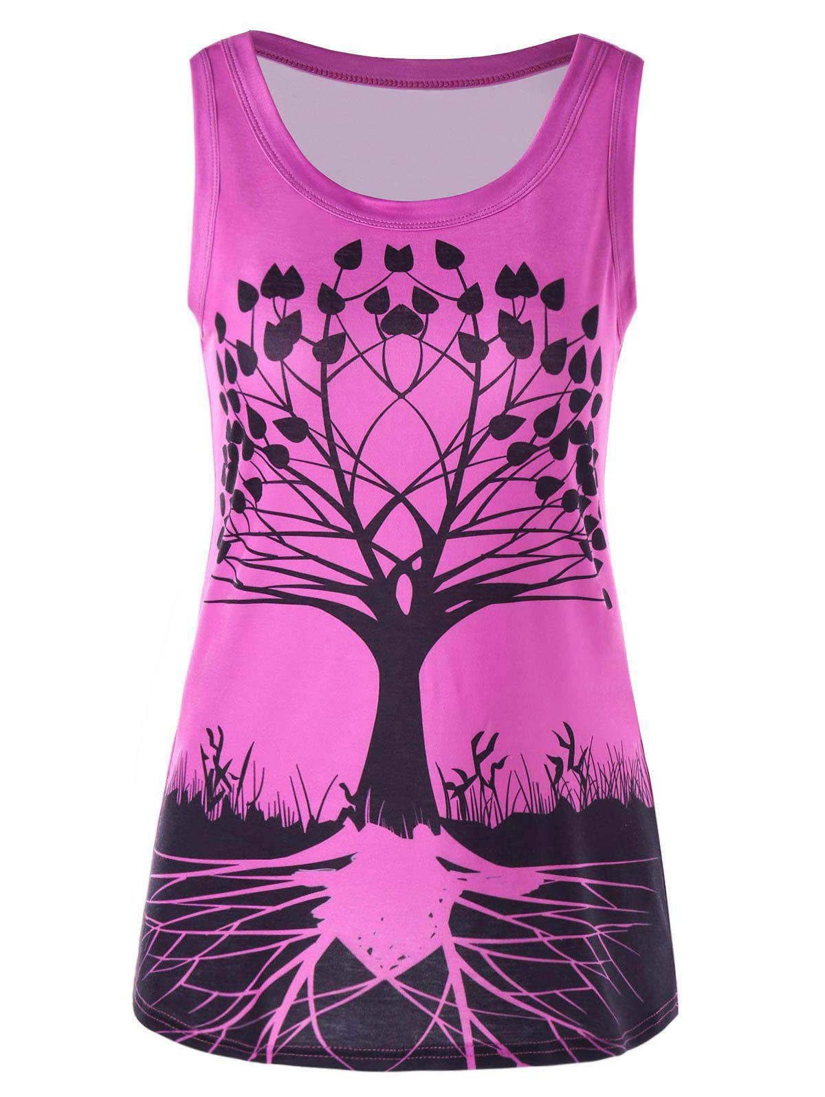 Tree Graphic Scoop Neck Tank Top scoop neck graphic tank top