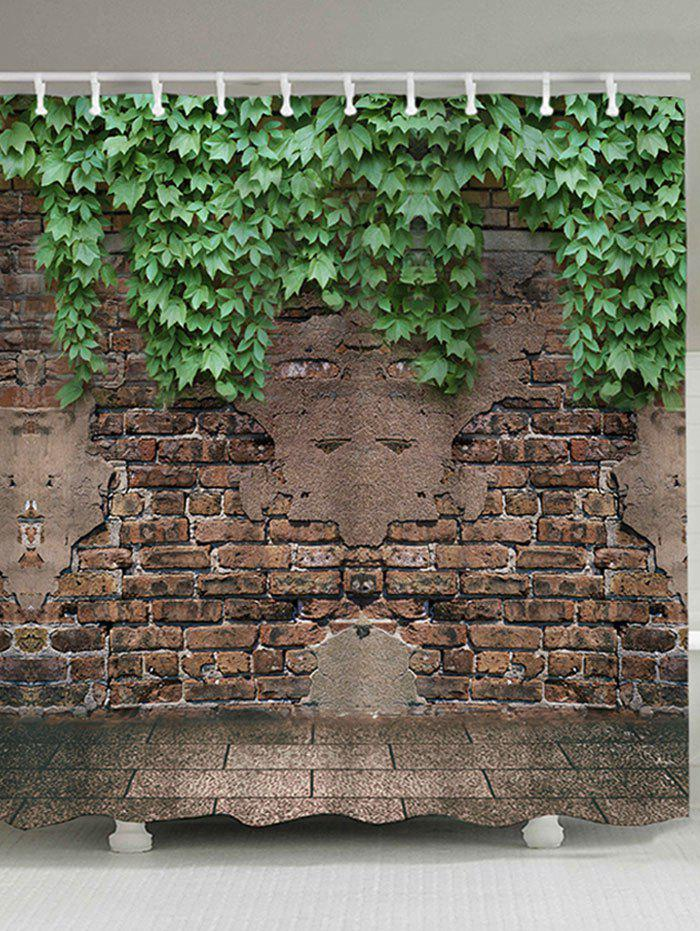 Old Brick Wall Leaves Print Fabric Shower Curtain wood brick wall print bath shower curtain