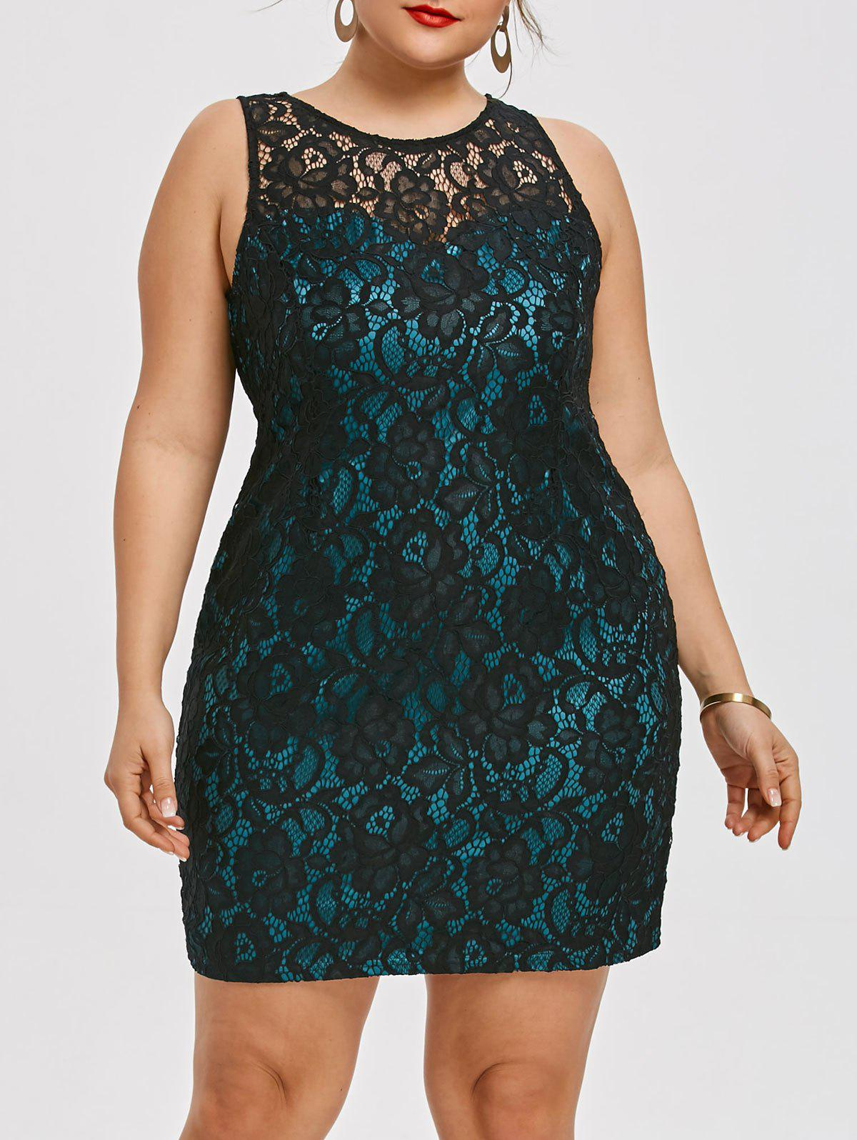 Plus Size Sleeveless Flower Lace Dress - BLACK 3XL
