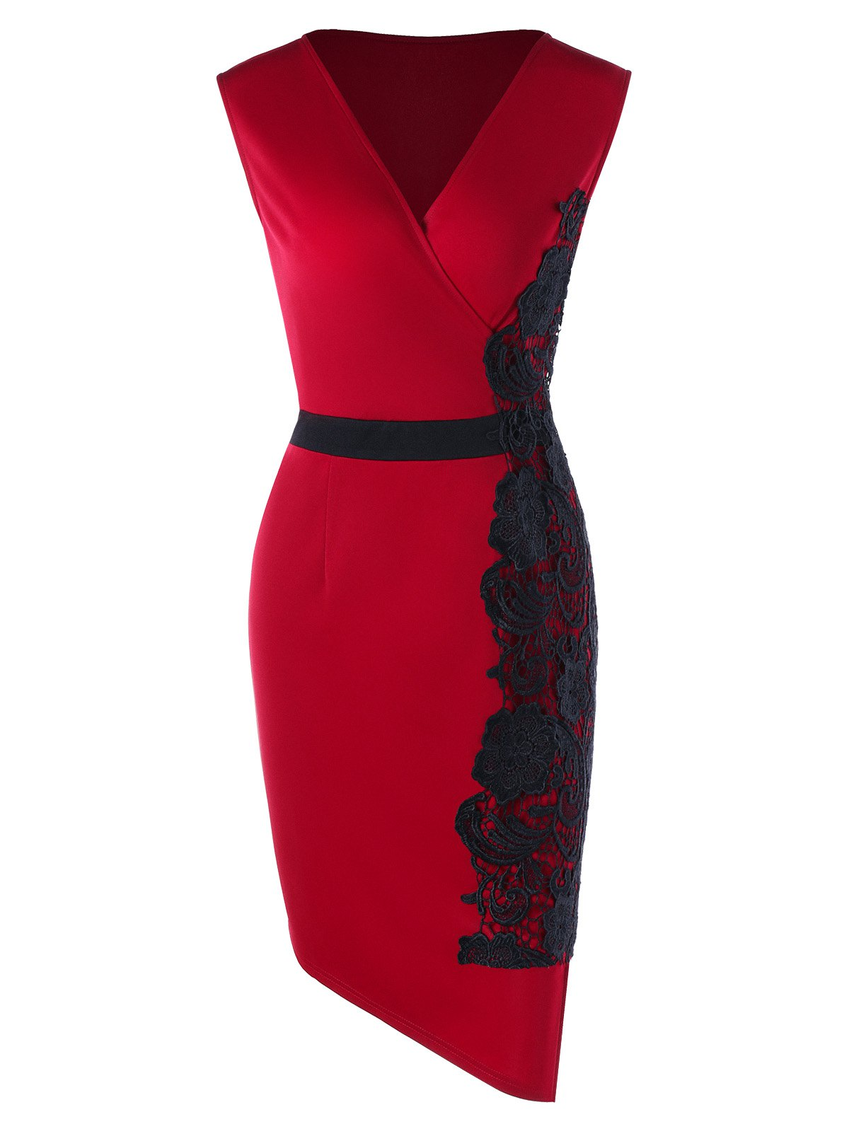 Plus Size Sleeveless Lace Trim Bodycon Dress - RED XL