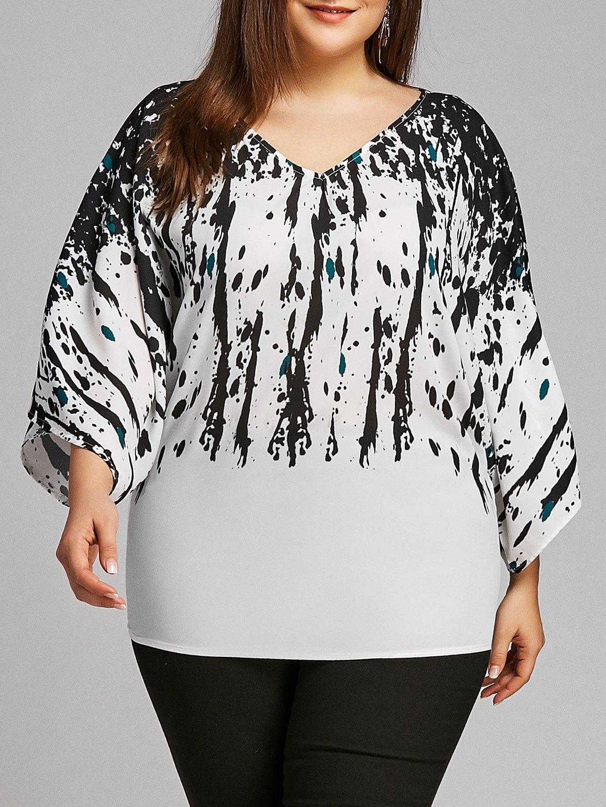 Plus Size Splatter Paint V Neck Blouse - WHITE/BLACK 5XL