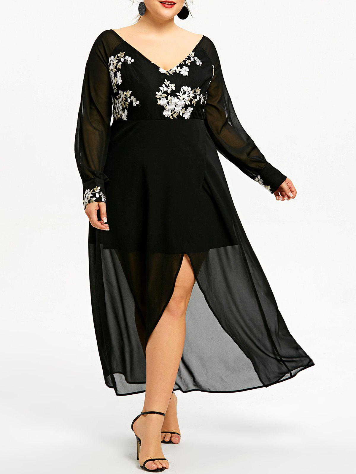 Plus Size Embroidered Split Sheer Midi Dress - BLACK XL