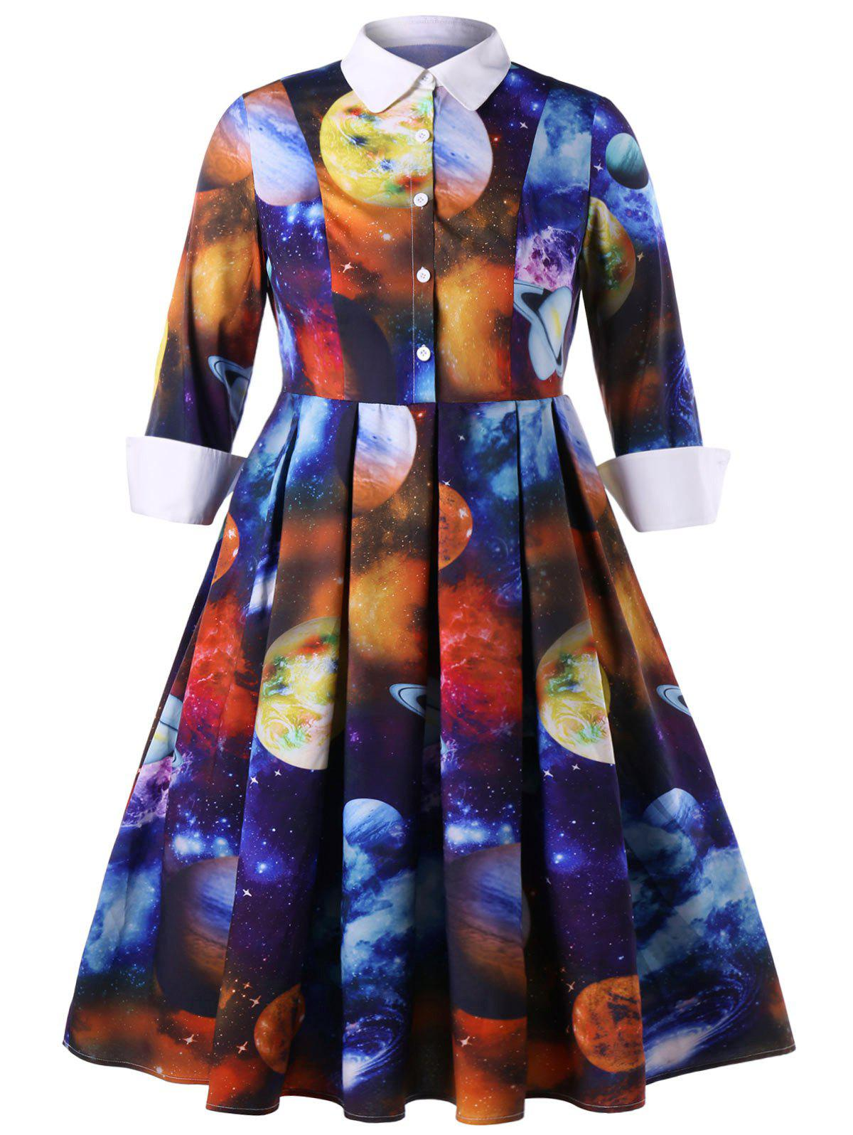 Plus Size A-line Galaxy Planet Print Dress - COLORMIX 3XL