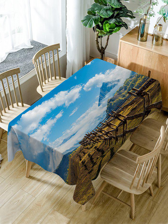Scenic Theme Waterproof Dining Table Cloth - BLUE W60 INCH * L84 INCH