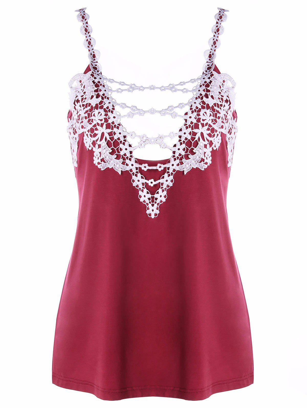 Cami Strap Applique Tank Top - RED L