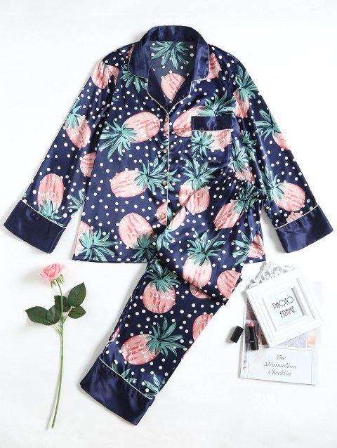 Fruits Printed Satin Sleep Suit - CADETBLUE M