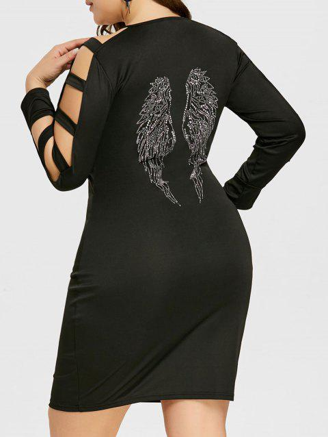 Plus Size Ladder Cutout Long Sleeve Slim Dress - BLACK 4XL