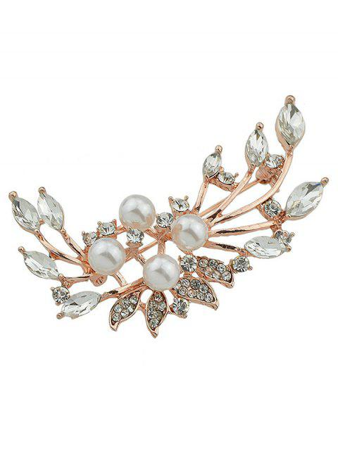 Sparkle Faux diamant perle feuille broche - Or