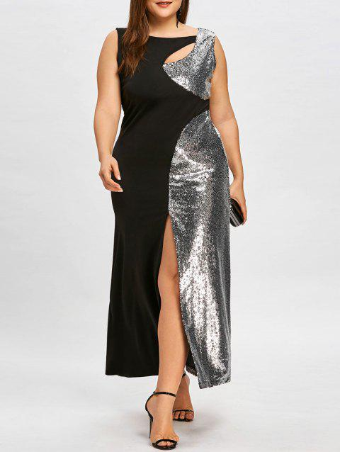 Plus Size Sparkly Sleeveless High Split Evening Dress - SLIVER/BLACK 3XL
