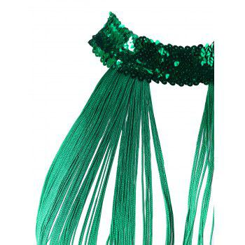 Lingerie Sequins Fringes See Thru Babydoll with T-back - GREEN ONE SIZE