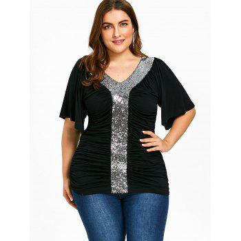 Plus Size Sequined Glittery Ruched T-shirt - BLACK 4XL