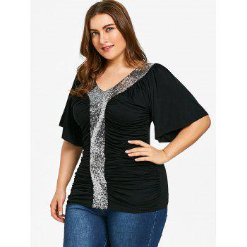 Plus Size Sequined Glittery Ruched T-shirt - BLACK 5XL