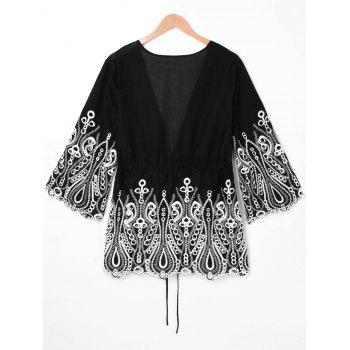 Arab Embroidery Plus Size Open Front Blouse - BLACK XL