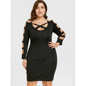 Plus Size Ladder Cutout Long Sleeve Slim Dress - BLACK XL