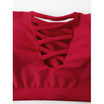 Off The Shoulder Lace Up Front Bikini - RED M