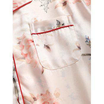 Two Piece Satin Print Pajamas Set - BEIGE M