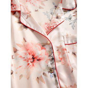 Two Piece Satin Print Pajamas Set - BEIGE L