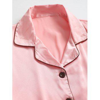 Two Piece Satin Sleepwear Top and Pants - PINK XL