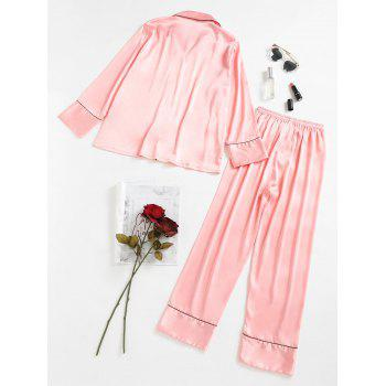 Two Piece Satin Sleepwear Top and Pants - PINK L