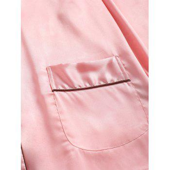 Two Piece Satin Sleepwear Top and Pants - PINK M