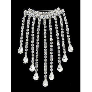 Teardrop Shiny Faux Diamond Fringed Brooch - SILVER