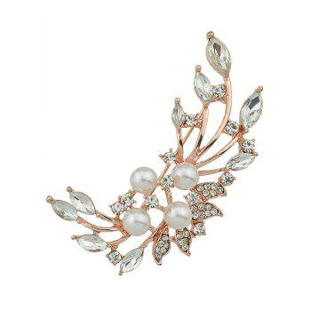 Sparkle Faux Diamond Pearl Leaf Brooch - GOLDEN