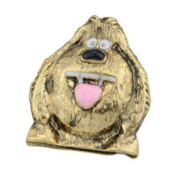 Pup with Big Eyes Embellished Brooch - GOLDEN