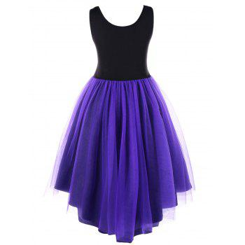 Plus Size Stereo Flower Ruffle Vintage High Low Dress - BLACK/PURPLE XL