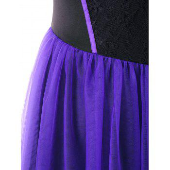Plus Size Stereo Flower Ruffle Vintage High Low Dress - BLACK/PURPLE 2XL