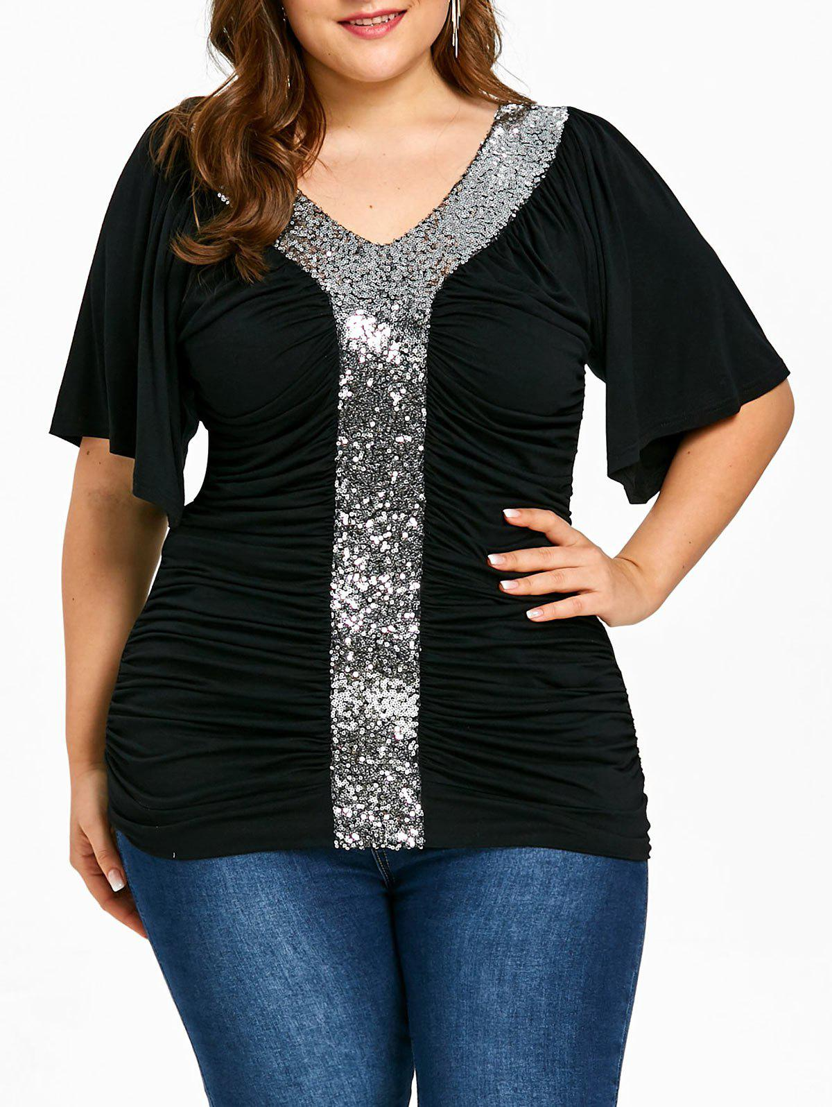 Plus Size Sequined Glittery Ruched T-shirt - BLACK 2XL